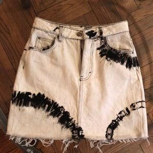 Topshop Black and White tie dye jean skirt